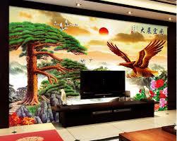 custom photo 3d room wallpaper chinese landscape sunrise pine