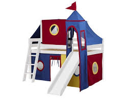 Castle Bunk Bed With Slide Castle Cherry Loft Bed With Slide Tent In Blue And White 448