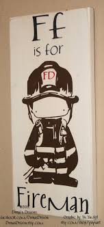 Firefighter Nursery Decor Firefighter Decor Distressed Wall Decor Custom Wood Sign