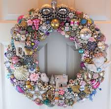 wreath loaded with vintage jewelry ornaments rhinestones