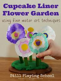 cupcake liner flower craft fine motor art for kids still