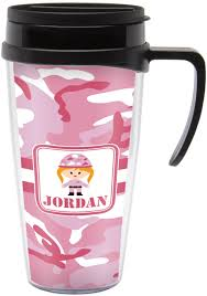 Travel Mug Pink Camo Travel Mug With Handle Personalized Potty Training
