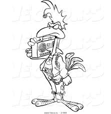 vector of a cartoon punky rooster with a boom box outlined