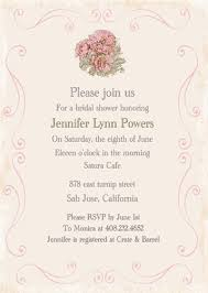 Bridal Shower Invitation Wording Vintage Pink Flower Printable Invitations For Bridal Shower