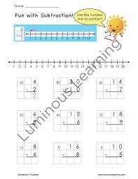 number line subtraction worksheets 1st grade u0026 math drill sheets