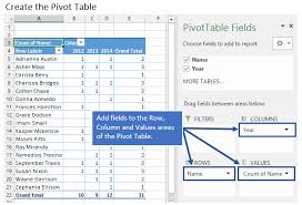 how to compare multiple lists of names with a pivot table excel