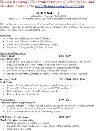 Sample Bank Resume by Sample Resume For Bank Teller At Entry Level 7245