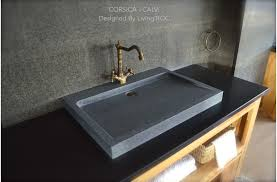 gray granite stone bathroom sink corsica