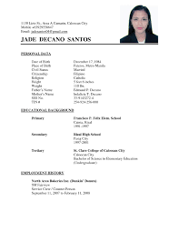 resume exles simple simple resume sle filipinonokiaaplicaciones