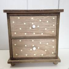 shabby chic natural polka dot 2 drawers mini chest cupboard cabinet