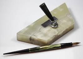 waterman desk set and green desk fountain pen with 4 keyhole nib