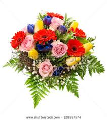 Spring Flower Bouquets - bouquet multicolor tulips fresh spring flowers stock photo