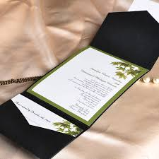 black and green pocket wedding invitations with response cards