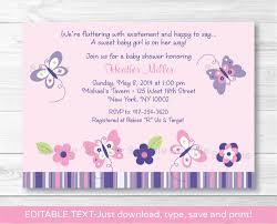 pink purple butterfly garden printable baby shower invitation