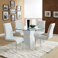 Vinyl Seat Covers For Dining Room Chairs - modern minimalist white dining room chairs with round glass table