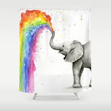 Animal Shower Curtains Baby Elephant Spraying Rainbow Whimsical Animals Shower Curtain By