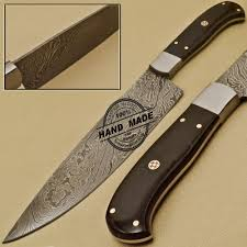 custom handmade damascus steel chef kitchen knife with buffalo horn