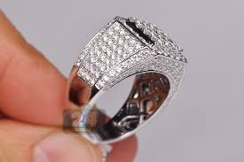 signet wedding ring iced out mens diamond square signet ring 14k white gold 4 32 ct