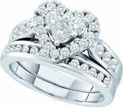 bridal ring sets 14k white gold 1 04 ct cut diamond heart shaped