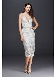 wedding dress overlay plunging sheath dress with sequin lace overlay david s bridal