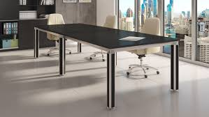 Oak Meeting Table Andrew Black Oak Conference Table With Accented Chrome Black Legs