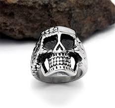 silver skeleton ring holder images Biker skull skeleton stainless steel ring horror center jpg