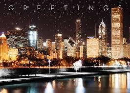 chicago skyline illuminated business cards