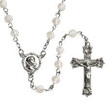 white rosary rosebud rosary 12 pk