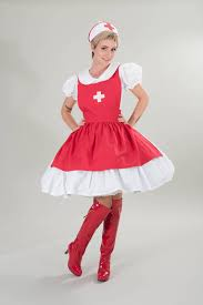halloween costume nurse dress and apron red white cosplay