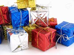 shiny wrapping paper colorful gift boxes in shiny wrapping paper isolated against