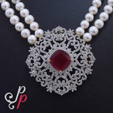 necklace pearl set images Pearl necklace sets 2 strands pearl set in ruby pendant a set jpg