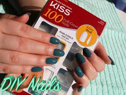 diy easy fake nails kiss active oval full cover nails youtube