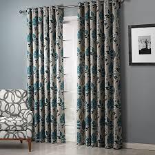 twopages faux linen blue leaf 90 blackout curtain drapes grommet
