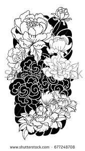 doodle zentangle stylepeony flower rose tattoo stock vector