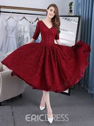 tea length dress ericdress a line v neck lace tea length evening dress with half