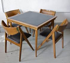 Folding Chair With Table Sold Vintage Mid Century Modern Stakmore Folding Chairs And Card