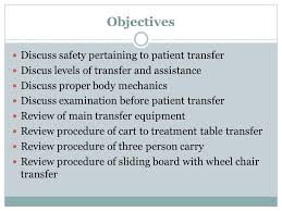 professional objectives patient transfer for health professional objectives discuss