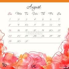 calendar template 2015 august floral design calendar