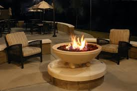Firepit Bowl by Exterior Back Yard Patio With Fire Bowl And Black Wcker Chair