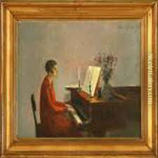 interior with woman playing the piano oil painting poul friis nybo