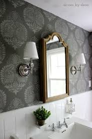 bathroom wall stencil ideas our stenciled bathroom budget makeover reveal damask wall