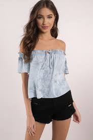 light blue off the shoulder top light blue blouse off shoulder blouse smocked off the shoulder
