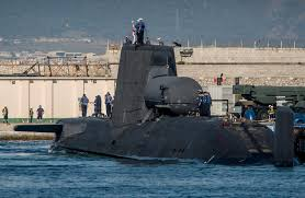 hms astute arriving in gibraltar royal navy