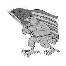 Waving Flag Artist American Eagle Waving Usa Flag Cartoon Digital Art By Aloysius