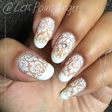white lace nail stamping design youtube