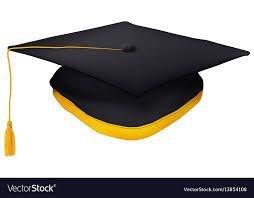tassel graduation black graduation cap with gold tassel isolated vector image
