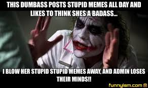 Dumbass Meme - this dumbass posts stupid memes all day and likes to think shes a