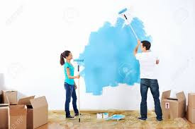 Paint House Couple Painting New Home Together With Blue Color Happy And