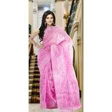 dhakai jamdani saree glamorous pink dhakai jamdani saree with pink and jari flowers all