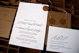 Kraft Paper Wedding Invitations Leah Adam U0027s Calligraphy And Kraft Paper Wedding Invitations